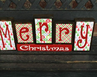 Christmas wood blocks-Merry Christmas (RED)