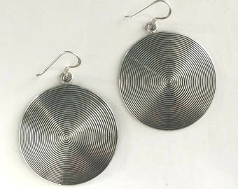 Domed Hoop Earrings Textured Sterling Silver Balinese Bali Jewelry