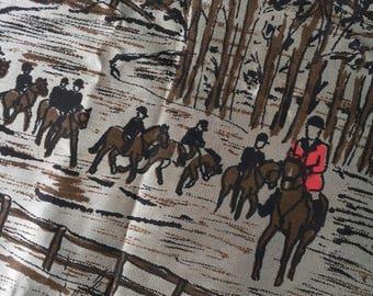 Crunchy border print acetate vintage scarf material fabric coat lining equestrian hunt horse N Erlanger Blumgart