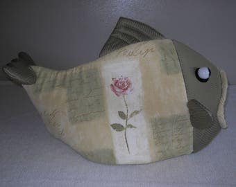 Fish shaped pet bed French single rose green fish