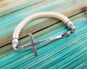 Horse Hair Bracelet with Sterling Silver Cross