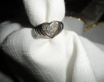 Antique Diamond Heart 14K and Sterling Silver Ring Size 5
