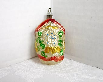 Antique Christmas Glass Ornament German Cuckoo Clock 1930s Feather tree decoration