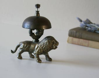 Vintage Brass Counter Bell, Lion, Service Bell, Store Bell, Office Decor, Gift