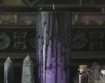 ancient rustic candle, dark decor, purple candles, altar candle, ritual candle, third eye, hocus pocus,