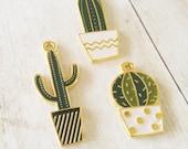 Cactus Charms Cactus Pendants Gold Enamel Charms Gold Charms Western Charms Southwest Charms Set