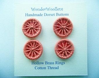 Dorset Buttons, Handmade Buttons, Cotton & Hollow Brass Buttons, Four Orange Dorset Buttons, Artisan Dorset Buttons, Unique Buttons