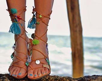 Leather Gladiator Sandals, leather gladiators, lace up sandals, greek sandals, pompom sandals, sandales grecques sandales femme pompons