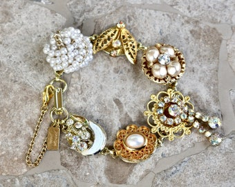 Vintage Earring Bracelet, Charm Bracelet, Pearl, AB Rhinestone, Gold Filigree, 1940s Bridesmaid gift for her, Jennifer Jones OOAK - Radiance