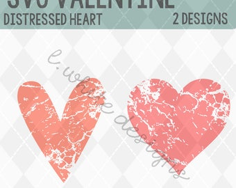 Heart Distressed with 2 Designs SVG, STUDIO, and PNG cuttble file