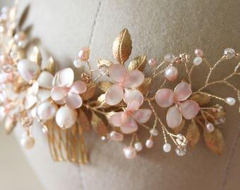 Floral hair vine, blush hair vine, floral hair piece, wedding headpiece, floral headpiece, statement headpiece, couture hairpiece
