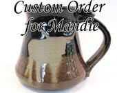 Custom Order for Mandie - Big Coffee Mug - Longhorn Mug - 24 oz - Pottersong - Handmade Pottery - Longhorn Silhouette - Black and Tan