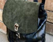 READY to SHIP - Camo Leather Backpack/Rucksack Leather Backpack - Laurel Dasso