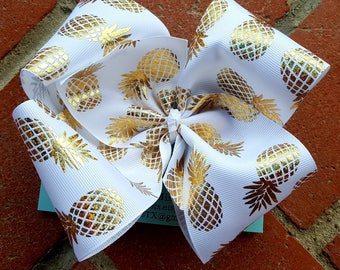 Pineapple bow, Gold Pineapple bow, White and Gold Pineapple Bow, White and Gold Bow