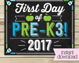 First Day of Pre K3 Sign - 1st Day of School Sign Printable - Photo Props - Boy Pre-K 3 Sign - Instant Download - Digital Download Boy
