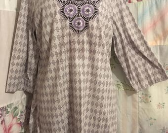 LARGE, Top Hippie Cotton Embroidered Flowerchild Boho Bohemian Lightweight Gray Tunic Blouse