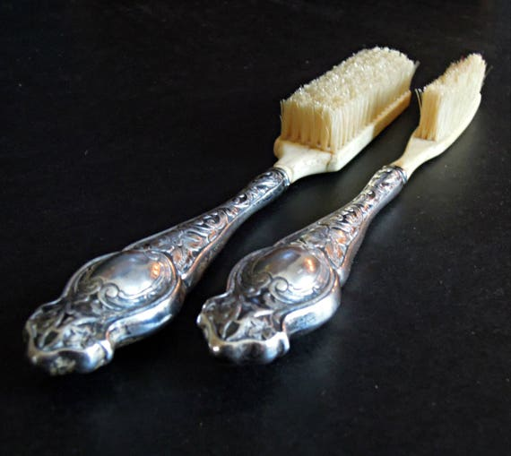 Vintage Bone And Sterling Silver Baby Brush Mustache