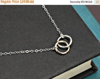 SALE - Circle Necklace, SILVER and GOLD Mixed Metals Necklace, Interlocking Rings Necklace, Bridesmaid Jewelry