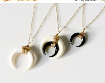 SALE - Double Horn Necklace, Moon Necklace Black, White or Layered, Gold or Silver Crescent Necklace, Boho Necklace, Layered Necklace