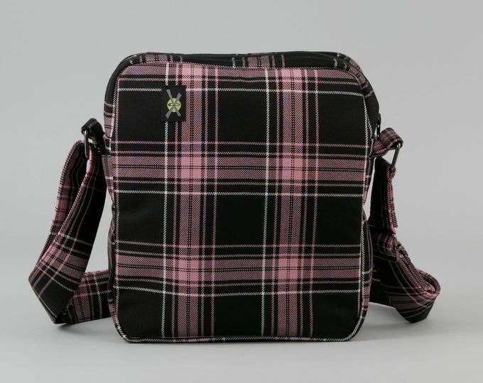 Pink and Black Plaid Small Crossbody Bag, Zipper Top Closure, Fabric Crossbody with Pockets, Ready To Ship