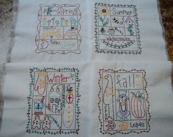 four seasons quilt blocks embroidered quilt blocks primitive embroidery folkart embroidery