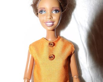 Fashion Doll Coordinates - Solid orange sleeveless top with button detailing - es432