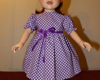 Modest purple & white checked dress with puffy sleeves for 18 inch dolls - ag331