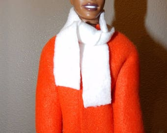 Bright solid orange Fleece coat & white scarf for male fashion dolls - kdc100
