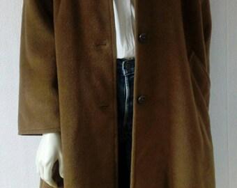 90s Vintage Camel coat/Marina Rinaldi/Max-Mara/Wool and Cashmere/Womens US 6-8/FR 38-40