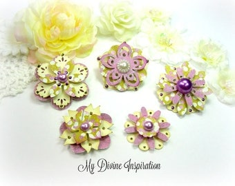 Basic Grey Plumeria Handmade Paper Embellishments and Paper Flowers for Scrapbook Layouts Cards Mini Albums Tags and Paper Crafts