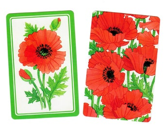 POPPIES in BLOOM (2) Vintage Single Swap Playing Cards Paper Ephemera Scrapbook