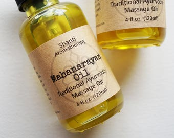 Herbal Soothing Massage Oil - Muscle Aches Ayurveda Narayan Massage Oil - Athletes Muscle Relief, Joint Aches - 2 or 4 oz