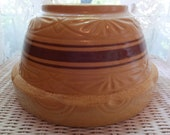 """Vintage Farmhouse Robinson Ransbottom Pottery RRP Roseville Ohio Brown Banded Mixing Dough Bowl 305-12"""""""