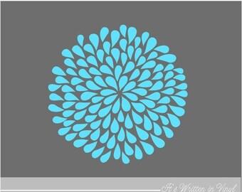 20% OFF Geyser Blue Mum Flower 9 in.- Vinyl Lettering wall words quotes graphics decals Art Home decor itswritteninvinyl