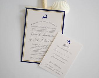 Cape Cod Wedding invitation, Pocketfold invitation, nautical invitation, beach invitation, custom invitation, cape cod invitation