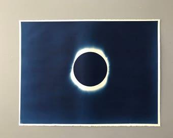 Solar Eclipse Cyanotype Hand Printed Original Art