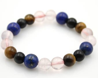 Crystal Tiger Eye Gem Lapis Lazuli Tibet Buddhist Prayer Beads Mala Bracelet  S020