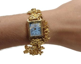Kirks Folly Secret of the Seven Angels Watch, 8 Inch, Gold Tone, Ladies Watch, Unworn with Battery