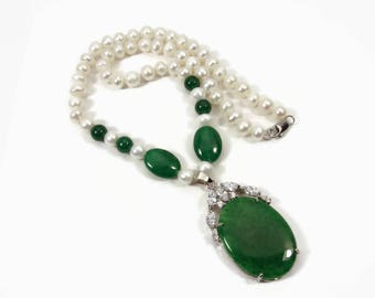 Imitation Jade & Pearl 18K Gold Plated Necklace