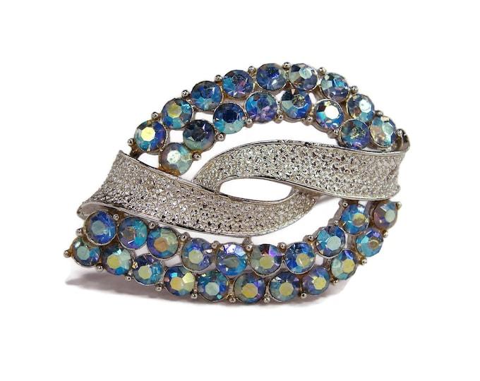 Vintage CORO Blue Rhinestone Brooch, 1960s Jewelry, Aurora Borealis Rhinestones, Silver Tone Metal, Vintage Jewelry