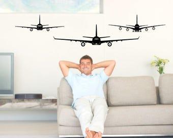 Aircraft wall decals, airplane decals, jet decal, aircraft decor, boys room decor, man cave decor, jet plane decals, teen boys room decor