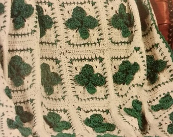 PLEASE READ- CUSTOM Made to Order Shamrock Afghan Throw Blanket St. Patrick's Day Holiday Decor Shamrocks Clover Irish