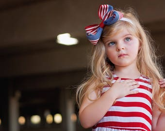 Baby Bow,4th of July Bow, XXL Loopy , Baby Headband, Fourth of July Headband,Patriotic Bow, Flag headband, 4th of July, Baby Headband