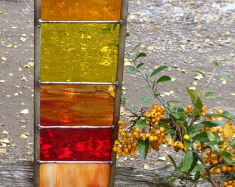 Stained Glass Garden Ornament Architectural Panel Large in Sunshine Colours MTO