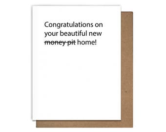 New Home Congratulations Letterpress Greeting Card Funny