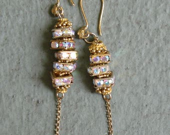 Swarovski Crystal AB Earrings - Gold, Dangle, Glittering,  Asymmetrical
