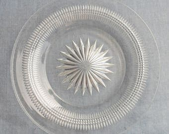 Vintage Heisey clear Glass Bottle Coaster Dish - FREE Shipping