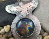 Silver raven pendant with purple labradorite gemstone