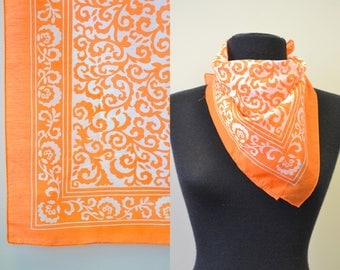 1970s Orange and White Printed Scarf