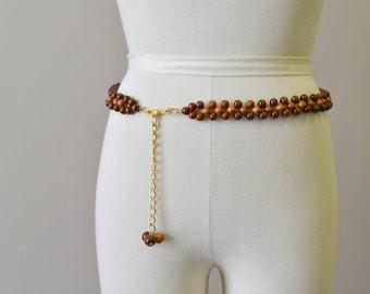 1970s Wooden Bead Hip Belt